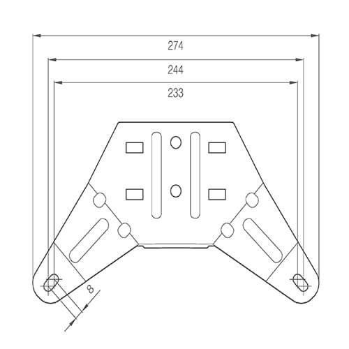LED zwaailampbalk R65   1345mm,   10-30v    compleet flitsend