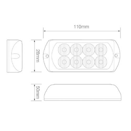 ElectraQuip  LED Flitser 8 LED's Amber | 10-30v |