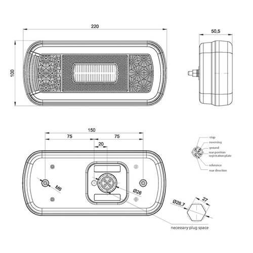 LED achterlicht met kentekenverlichting  | 12-36v | 5 Pins