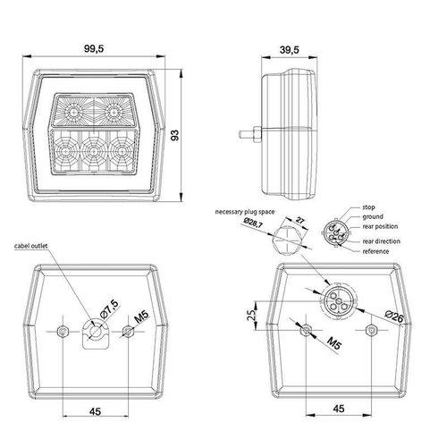LED compact achterlicht zonder kentekenlicht    12-36v   100cm. kabel