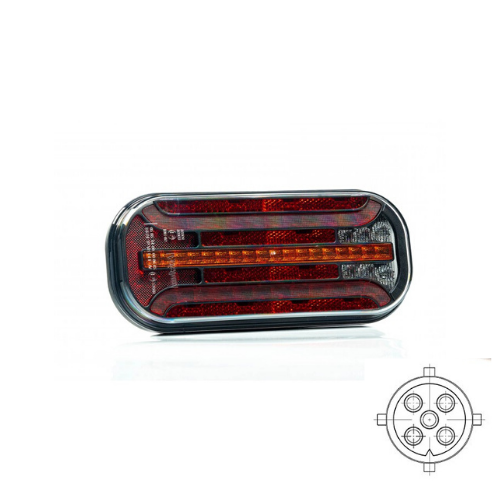 LED achterlicht met dynamisch knipperlicht & kentekenverlichting  | 12-24v | 5PIN