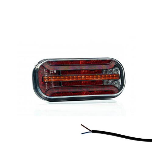 Fristom LED achterlicht met dynamisch knipperlicht & kentekenverlichting    12-24v  