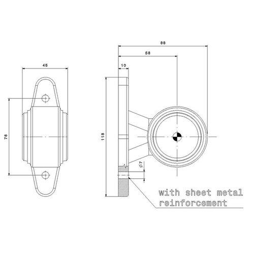 Fristom LED breedtelamp, korte steel   12-24v   20cm. kabel