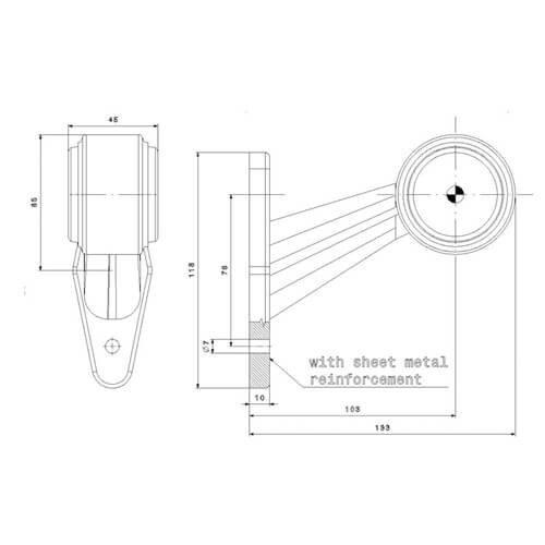 Rechts | LED breedtelamp  | schuine steel | 12-36v | 0,75mm² connector