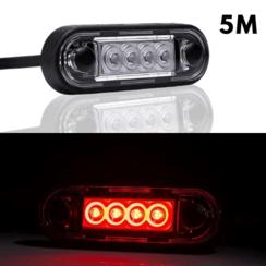 LED markeerverlichting inbouw rood | 12-24v | 5m. kabel