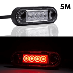 LED marker lights recessed red | 12-24v | 5m. cable