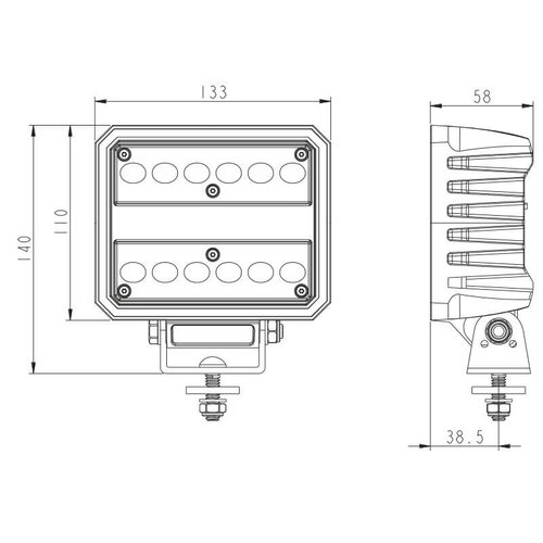 LED Work light   6200 lumens   60 watt   IP69K   Built Deutsch connector