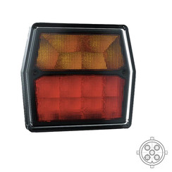 Compact LED rear light 12V incl. License plate light 5 PINs