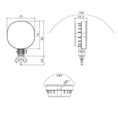 Fristom LED Achteruitrijlicht | 12-24v | 50cm. kabel+superseal staande montage
