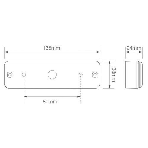 LED Autolamps  LED achteruitrijlicht slimline inbouw    12-24v   0,18m. kabel