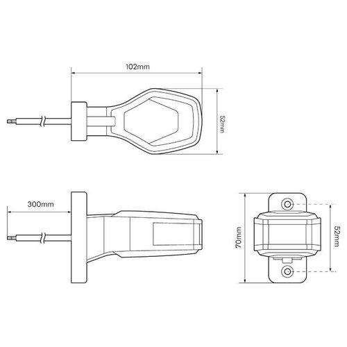 Links | LED breedtelamp  | 12-24v | 30cm. kabel (Rood/wit)