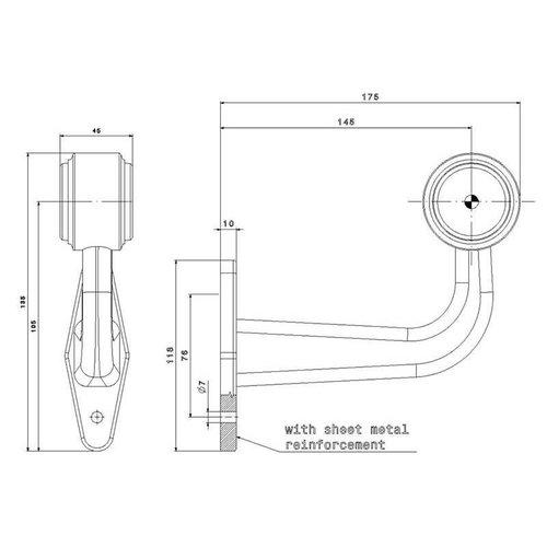 Rechts   LED breedtelamp    haakse steel    12-36v   20cm. kabel