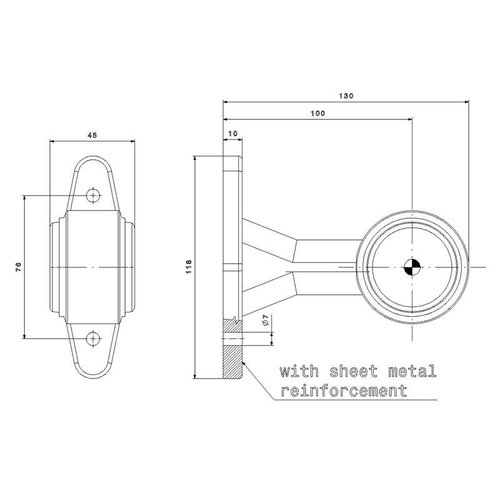 LED breedtelamp, rechte steel    12-24v   0,75mm² connector