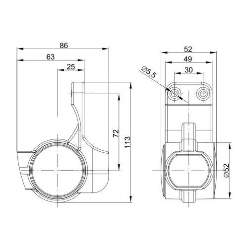 Fristom Rechts | LED breedtelamp  | korte steel | 12-36v | 0,75mm2 connector