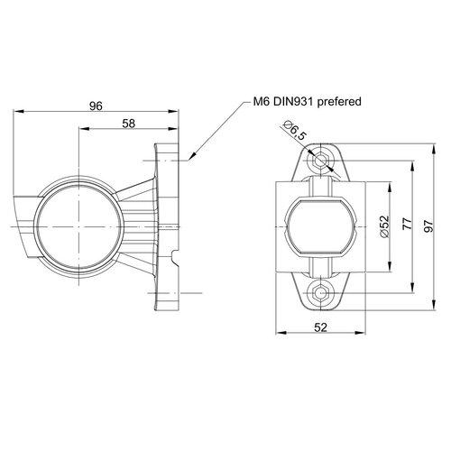 Rechts   LED breedtelamp    korte steel    12-36v   20cm. kabel