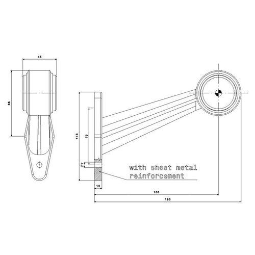 Rechts   LED breedtelamp    schuine steel   12-36v   20cm. kabel
