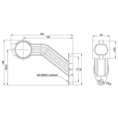 Links   LED breedtelamp    schuine steel    12-24v   20cm. kabel