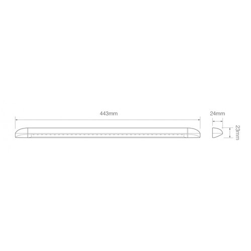 LED interieurverlichting 44,3cm. zwart 24v warm wit