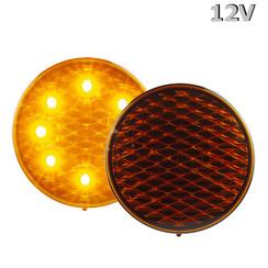 LED Knipperlicht  12v gekleurde lens 30cm. kabel