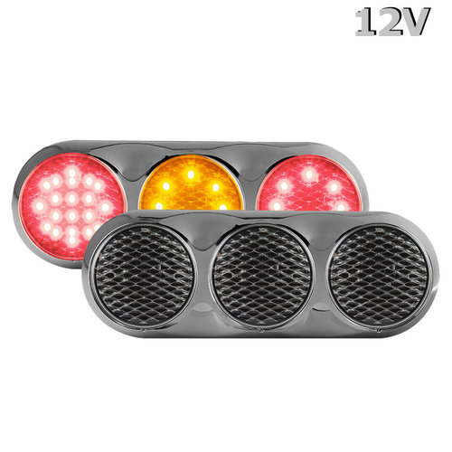 Combination LED light | 12v | color | 30cm. cable (+ bRight chrome)