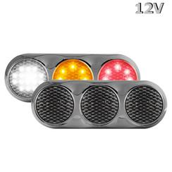 LED Combi lamp | 12v | kleur | 30cm. kabel (helder + chroom)