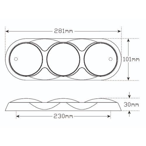 Combination LED light | 12-24v | 30cm. cable (color + chromium)
