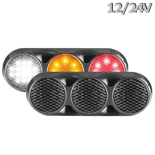 LED Combi lamp | 12-24v | 30cm. kabel (helder + zwart)