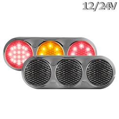 Kombination LED-Leuchte | 12-24V | 30cm Farbe. Kabel (+ Glanzverchromung)