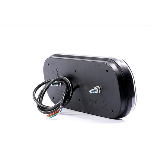 Links | LED achterlicht rechthoek reflector & kentekenverlichting | 12-24v | 100cm. kabel