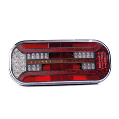 Right | LED rear light with rectangular reflector and license plate light | 12-24v