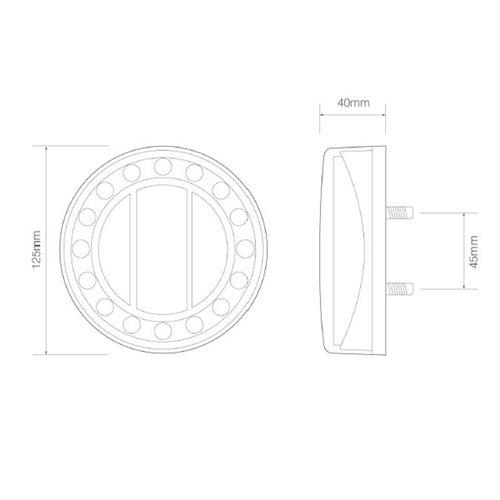 LED achteruitrijlicht in chroomlook  | 12-24v | 40cm. kabel