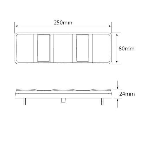 LED achterlicht zonder kentekenlicht    12-24v   40cm. kabel