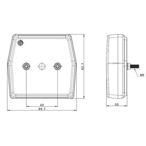 LED Compact mistlicht | 12v | 100cm. kabel