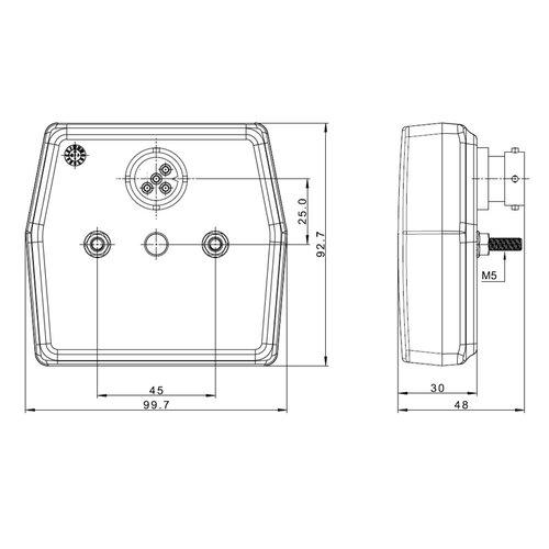 Fristom LED Compact achterlicht  12v  5 PIN's bajonet aansluiting