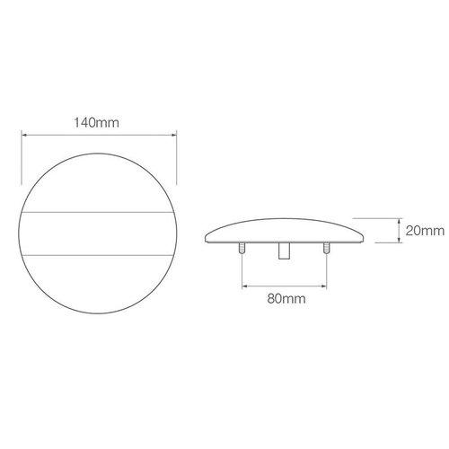 LED Autolamps  LED achteruitrijlicht met rem/achterlicht    12-24v   40cm. kabel