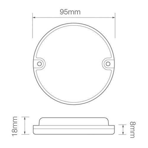 LED Autolamps  LED achterlicht zonder kentekenlicht  | 12-24v | 20cm. kabel