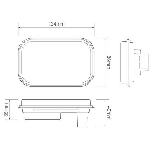 LED achteruitrijlicht inbouw    12-24v   zonder kabel