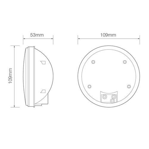 LED rem/achterlicht inbouw  | 12-24v | zonder kabel