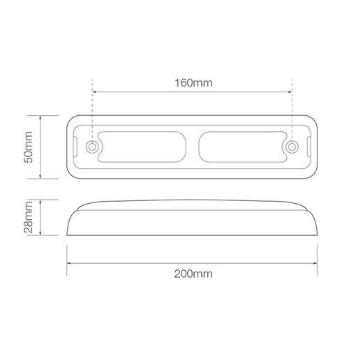 LED achteruitrijlicht slimline    12-24v   40cm. kabel