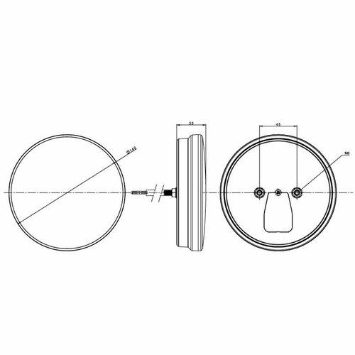 Fristom LED achterlicht, rond met dyn. knipperlicht | 12-24v | 100cm. kabel