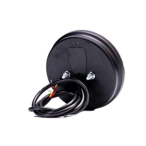 LED achterlicht, rond met dyn. knipperlicht | 12-24v | 100cm. kabel