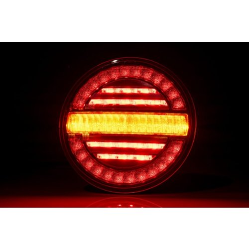 LED rear light, round with dyn. flashing | 12-24v | 100cm. cable