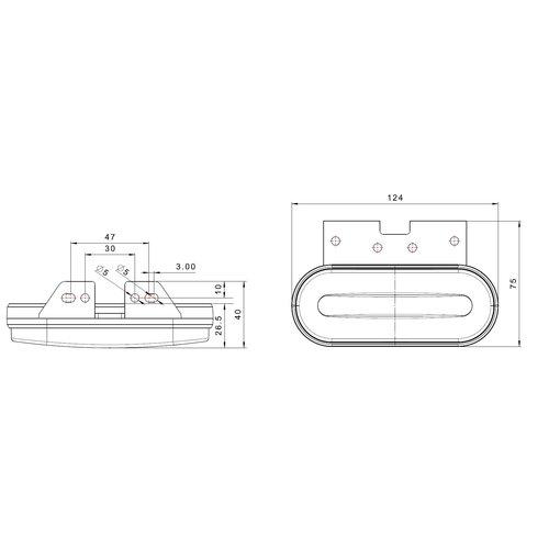 Fristom LED markeerlicht amber    12-24v    50cm. kabel