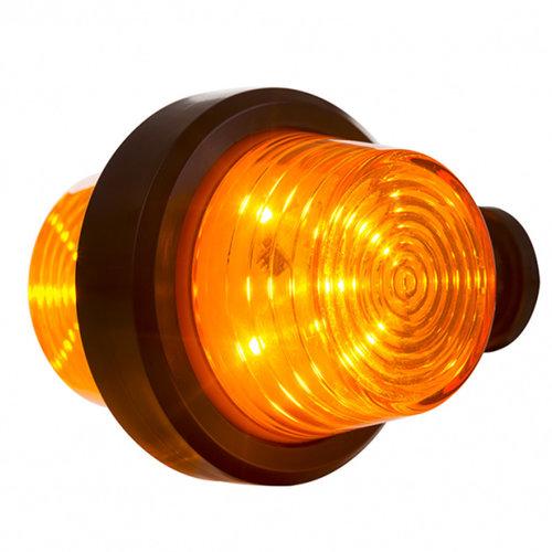 LED pendellamp amber, korte steel & heldere lens,  | 12-24v |