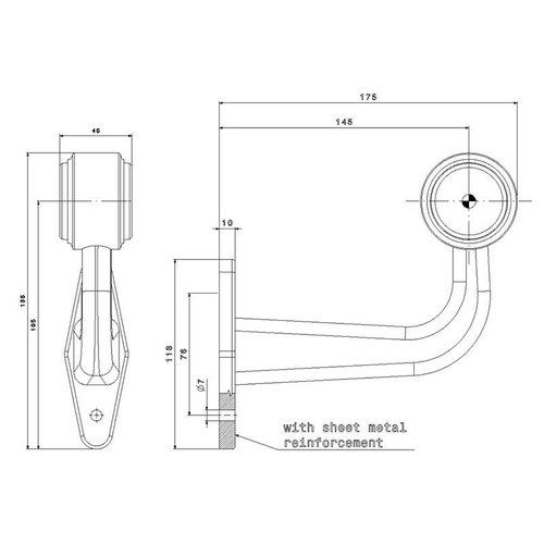 Rechts | LED breedtelamp  | haakse steel | 12-36v | 1,5mm² connector