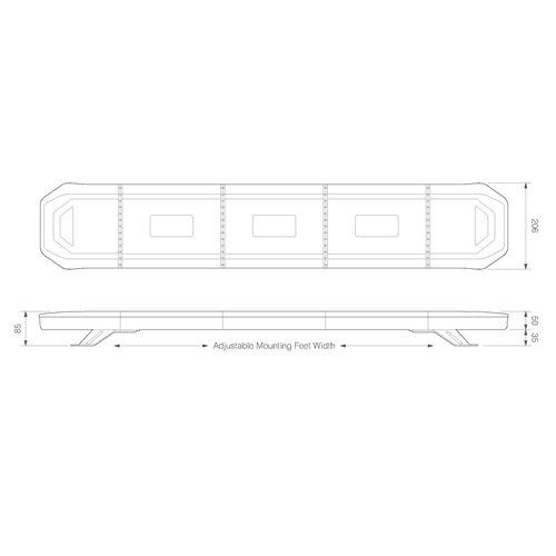 LED zwaailampbalk R65   621mm compleet flitsend   10-30v
