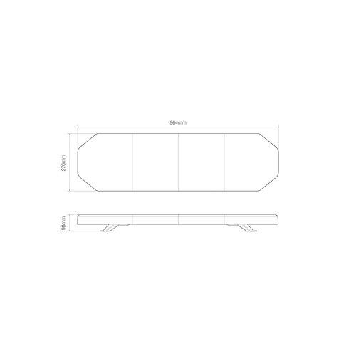 LED R65 zwaailampbalk 964mm    12-24v  