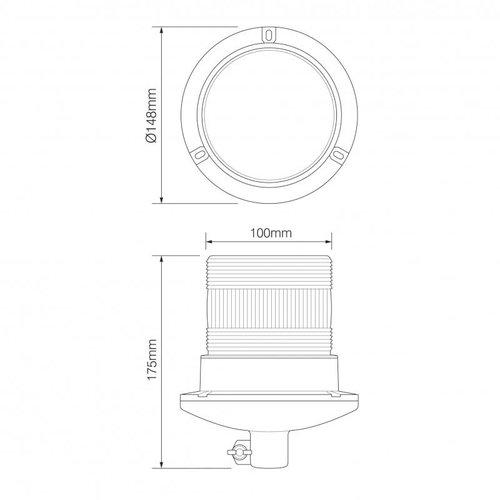 R10 LED Flits/zwaailamp   10-30v   met PC DIN-montagevoet