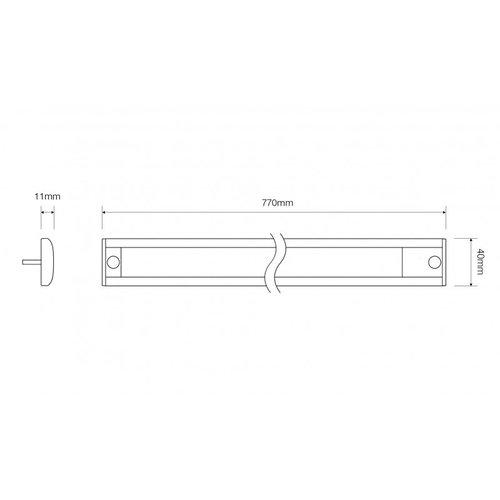 LED Interieurverlichting incl touch zwart 77cm. 24v koud wit