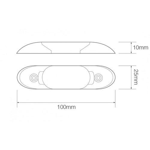LED interieurverlichting excl. schakelaar 10cm. chroom 24v koud wit